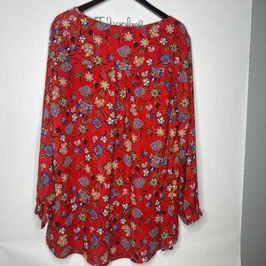 Chelsea & Theadore Red Floral Flowy Top